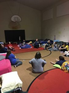 This was technically our team playing Mafia, but the fun always happened after our reflection time.